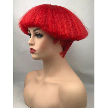 Short Neat Bang Shaggy Straight Synthetic Cosplay Wig - RED