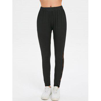 Sheer Lace Side Fitted Leggings - BLACK M