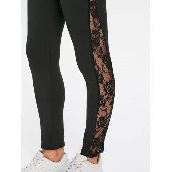 Sheer Lace Side Fitted Leggings - BLACK L
