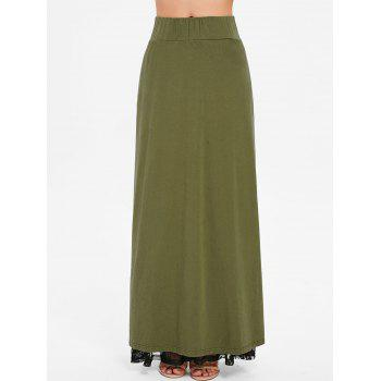 High Rise Lace Panel High Slit Maxi Skirt - ARMY GREEN M