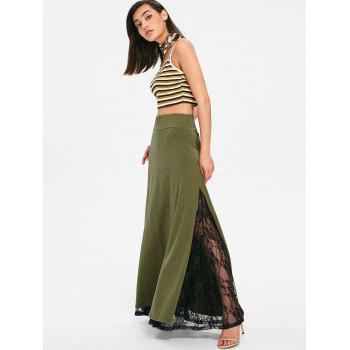 High Rise Lace Panel High Slit Maxi Skirt - ARMY GREEN L