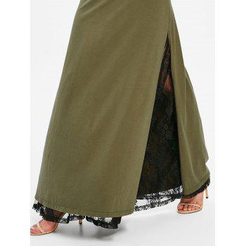 High Rise Lace Panel High Slit Maxi Skirt - ARMY GREEN XL