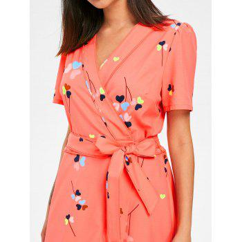 Heart Print Belted Wrap Dress - ORANGE M