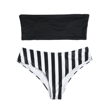 Plus Size Striped Bandeau Bikini - BLACK 2X