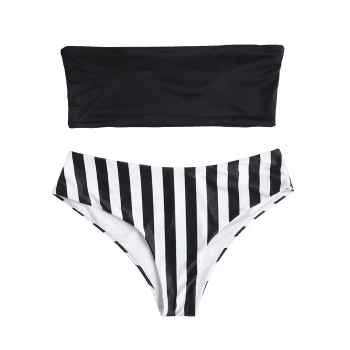 Plus Size Striped Bandeau Bikini - BLACK 3X