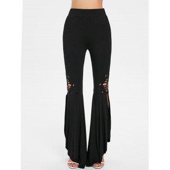 High Rise Side Slit Flare Pants - BLACK M