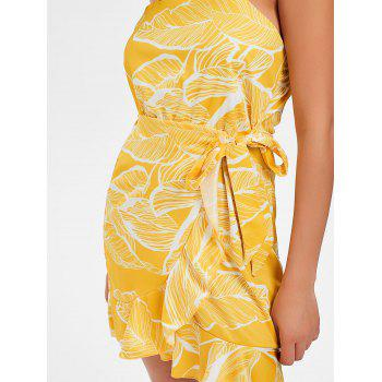 Casual Print Flounce Dress - SUN YELLOW XL