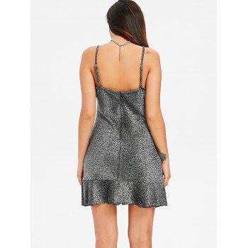Ruffle Hem Glitter Dress - SILVER XL