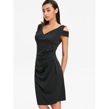 Bodycon Cold Shoulder Draped Dress - BLACK S