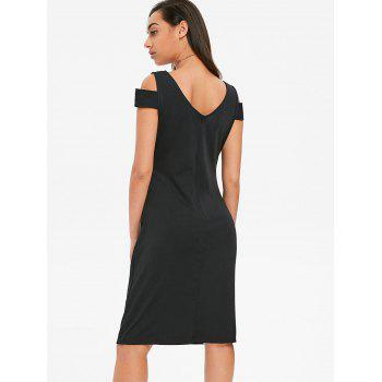 Bodycon Cold Shoulder Draped Dress - BLACK L
