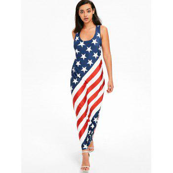 U Neck American Flag Floor Length Dress - multicolor S