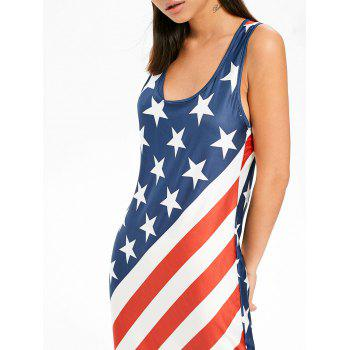 U Neck American Flag Floor Length Dress - multicolor L