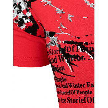 Flower Letter Print Short Sleeve Notch Neck T-shirt - RED 2XL
