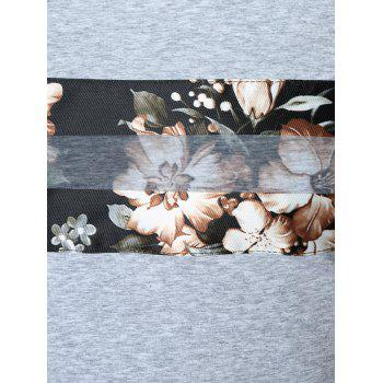 Chiffon Panel Flower Print Crew Neck T-shirt - GRAY XL