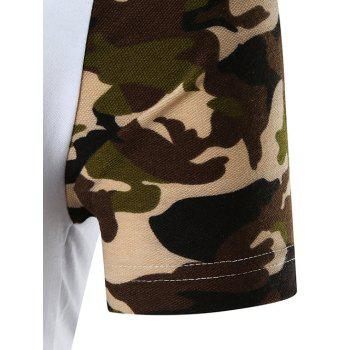 Sequined Letter Print Camo Sleeve T-shirt - WHITE M
