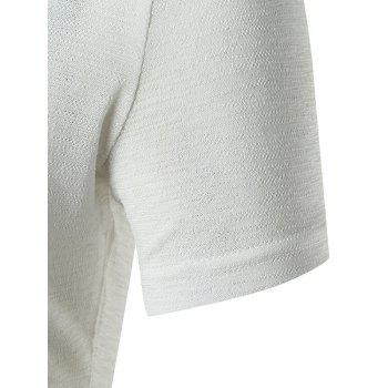 Notch Neck Stand Collar Solid Color T-shirt - WHITE M