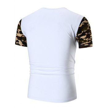 Sequined Letter Print Camo Sleeve T-shirt - WHITE XL