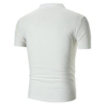 Notch Neck Stand Collar Solid Color T-shirt - WHITE 2XL