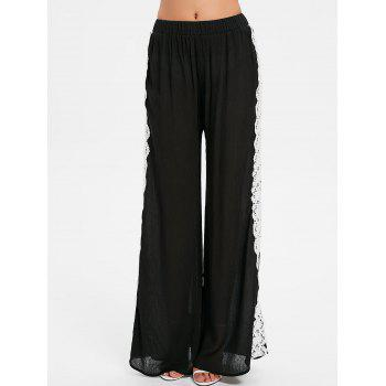 Lace Crochet Wide Leg Pants - BLACK 2XL