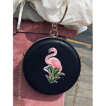 Flamingo Embroidery Round Shaped Handbag - BLACK