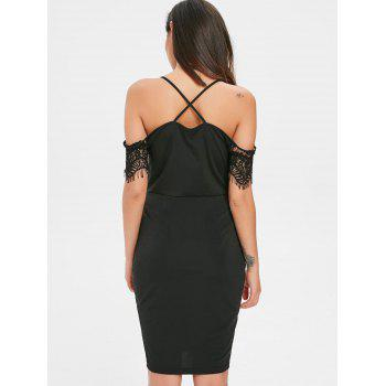 Lace Panel Eyelash Mini Dress - BLACK L