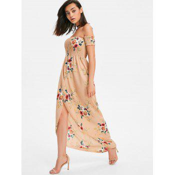Floral Print Floor Length Dress - APRICOT L