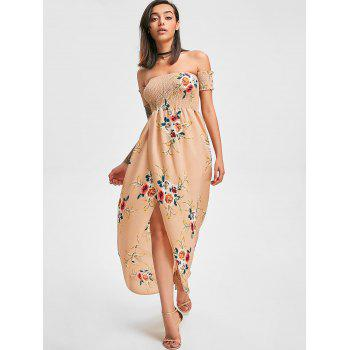 Floral Print Floor Length Dress - APRICOT XL