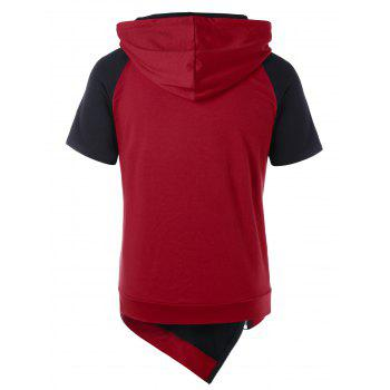 Asymmetrical Drawstring Color Block Hoodie - RED WINE L