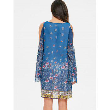 Split Sleeve Floral Chiffon Dress - BLUE L