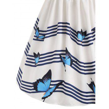 Butterfly River Printed Sleeveless Flared Dress - WHITE XL