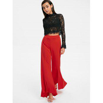 High Waisted Asymmetrical Bell Pants - RED L