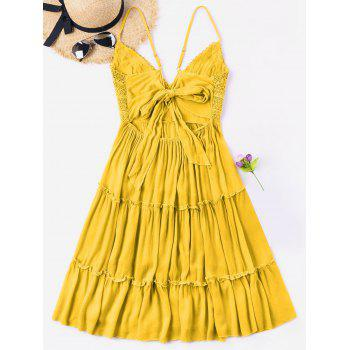 Spaghetti Strap Crochet Trim Cami Dress - Jaune Clair S