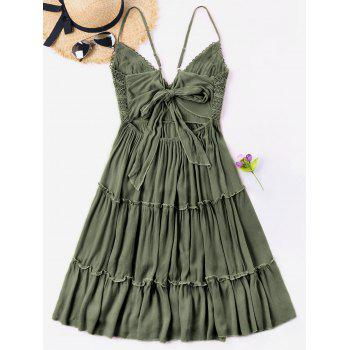 Spaghetti Strap Crochet Trim Cami Dress - Vert Noisette M