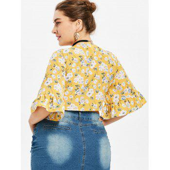 Plus Size Floral Plunging Neck Blouse - SCHOOL BUS YELLOW 2X