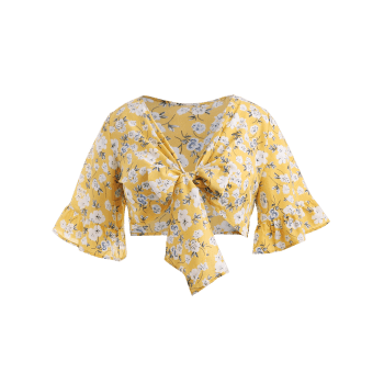 Plus Size Floral Plunging Neck Blouse - SCHOOL BUS YELLOW 5X