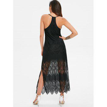 Racerback Slit Lace Beach Dress - BLACK M