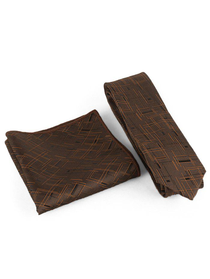 Cross Stripe Pattern Silky Shirt Tie Handkerchief Set - COFFEE