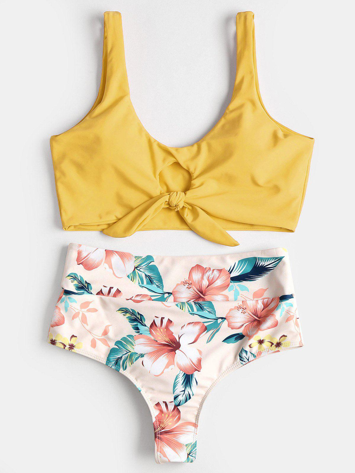 High Rise Knotted Floral Scrunch Bikini Swimwear - RUBBER DUCKY YELLOW M