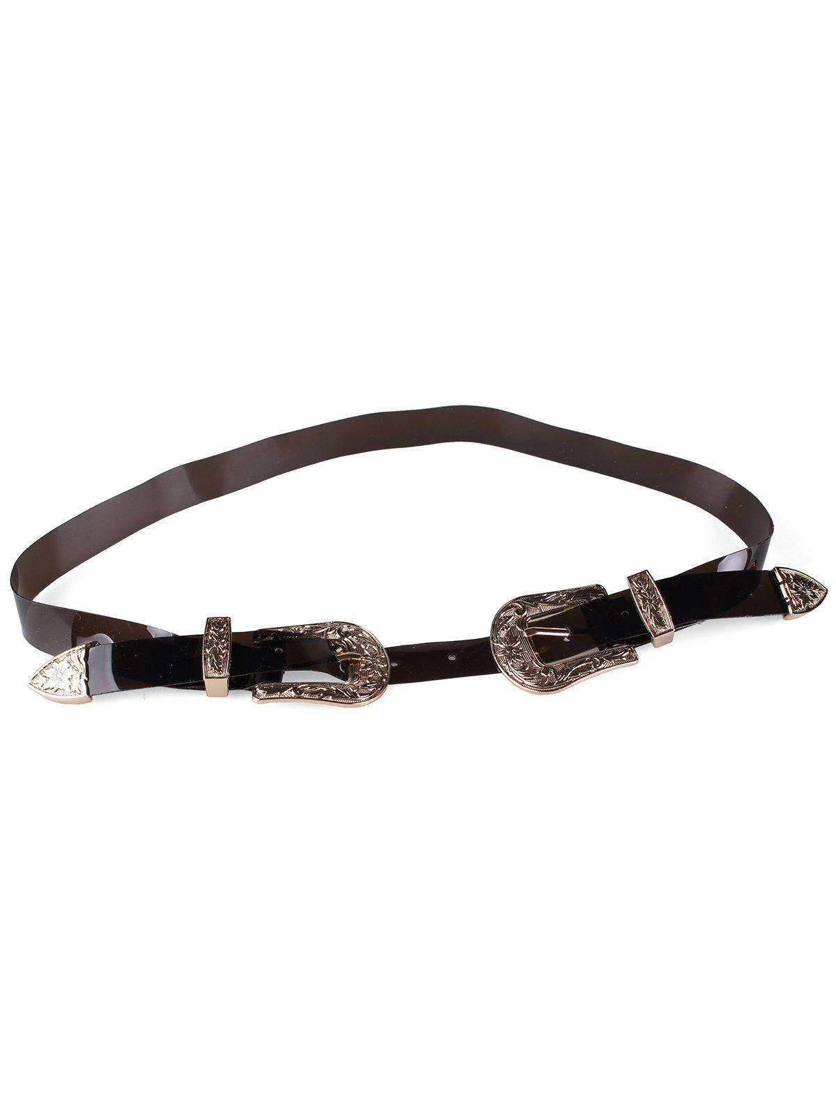 Unique Double Head Buckle PVC Waist Belt - BLACK