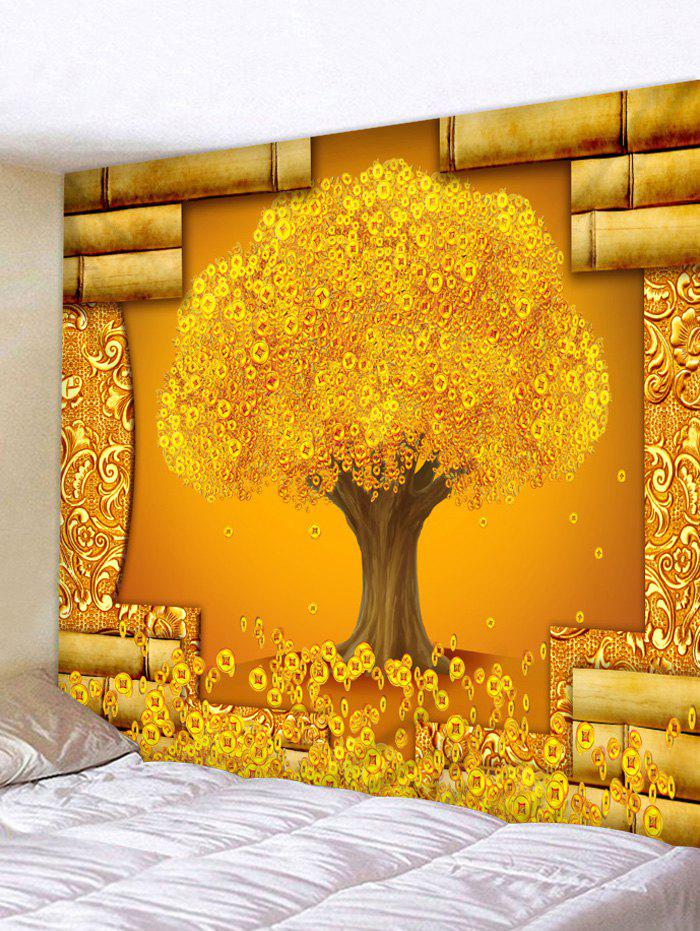 2018 Golden Money Tree Print Wall Decor Tapestry GOLD W INCH L INCH ...