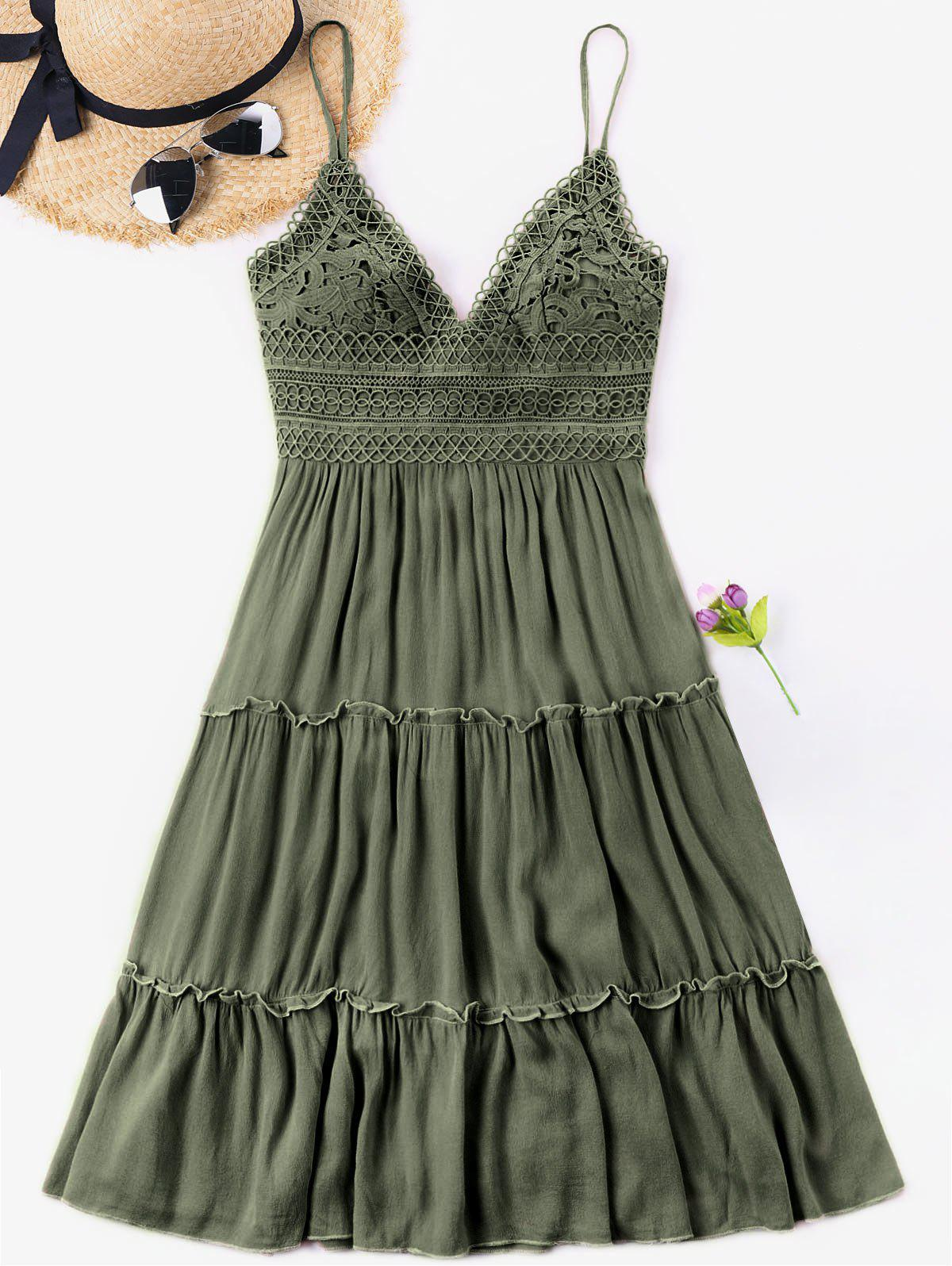 Spaghetti Strap Crochet Trim Cami Dress - Vert Noisette L