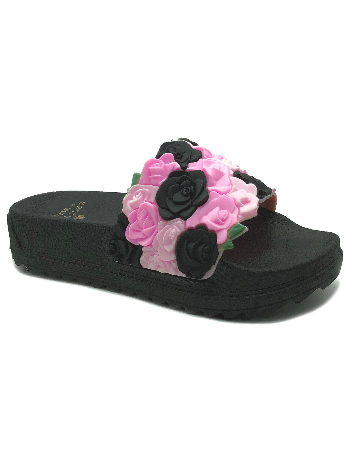 Roses Slip On Indoor Outdoor Platform Slippers - BLACK 40