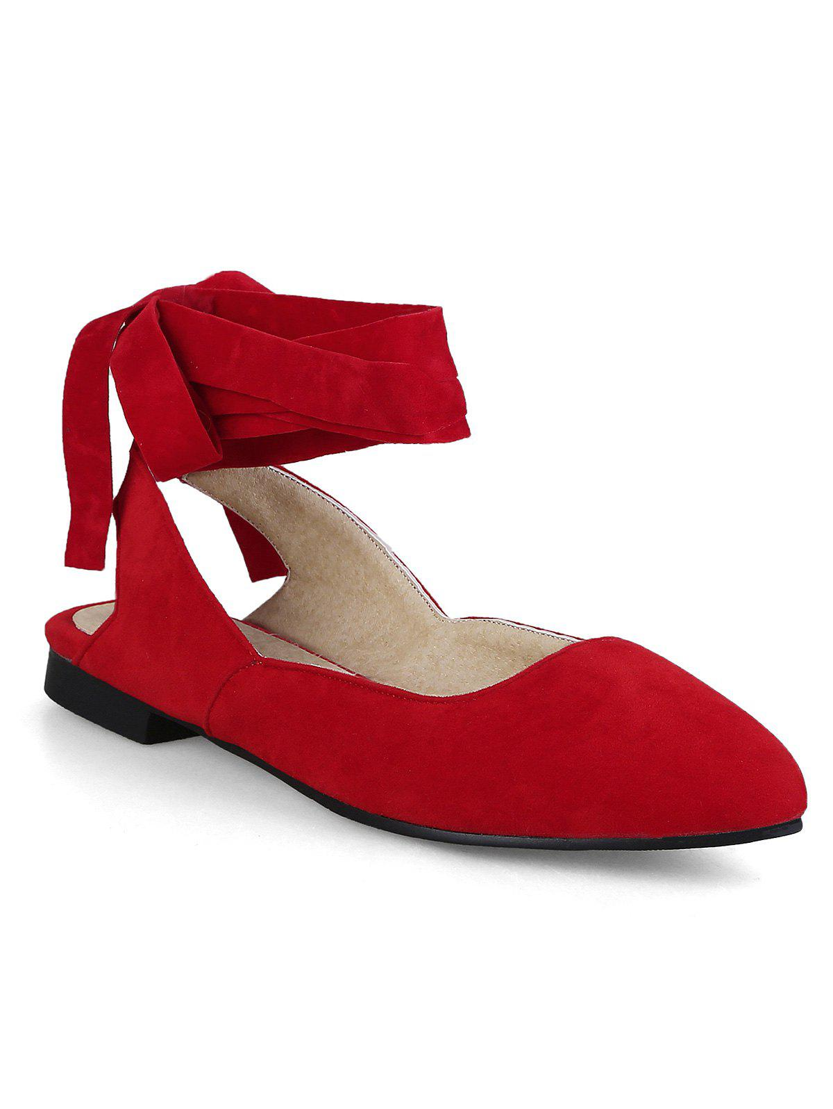 Ribbon Lace Up Pointed Toe Slingback Flats - RED 43