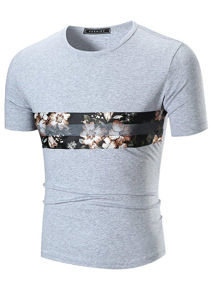 Chiffon Panel Flower Print Crew Neck T-shirt - GRAY L