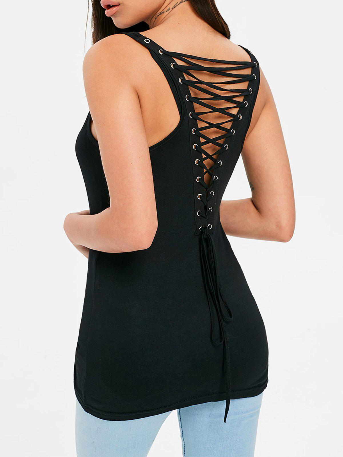 Lace Up Back Fitted Tank Top open back twist fitted tank top