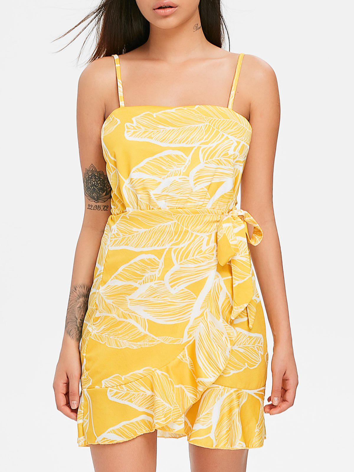 Casual Print Flounce Dress - SUN YELLOW L