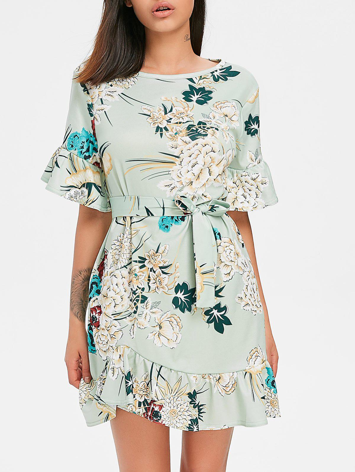 Floral Dress with Belt - LIGHT CYAN M