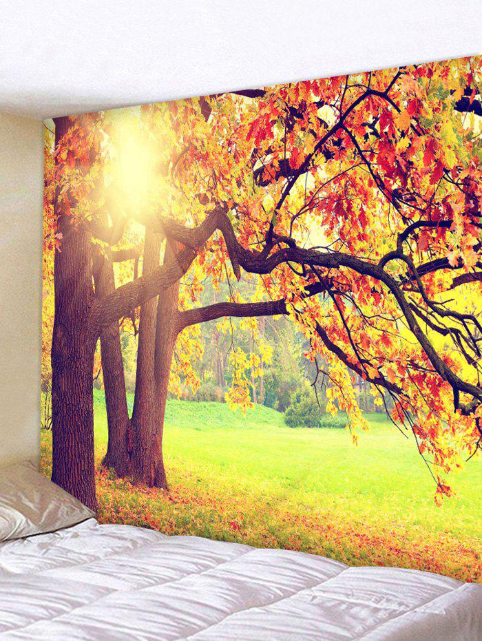 2018 Sunshine Trees Leaves Wall Decor Tapestry SUN YELLOW W INCH L ...