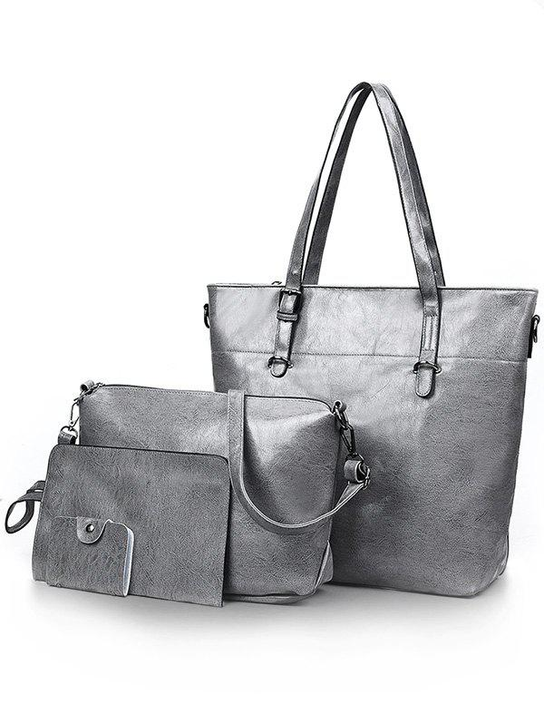 PU Leather 4 Pieces Simple Design Bags Set - DARK GRAY