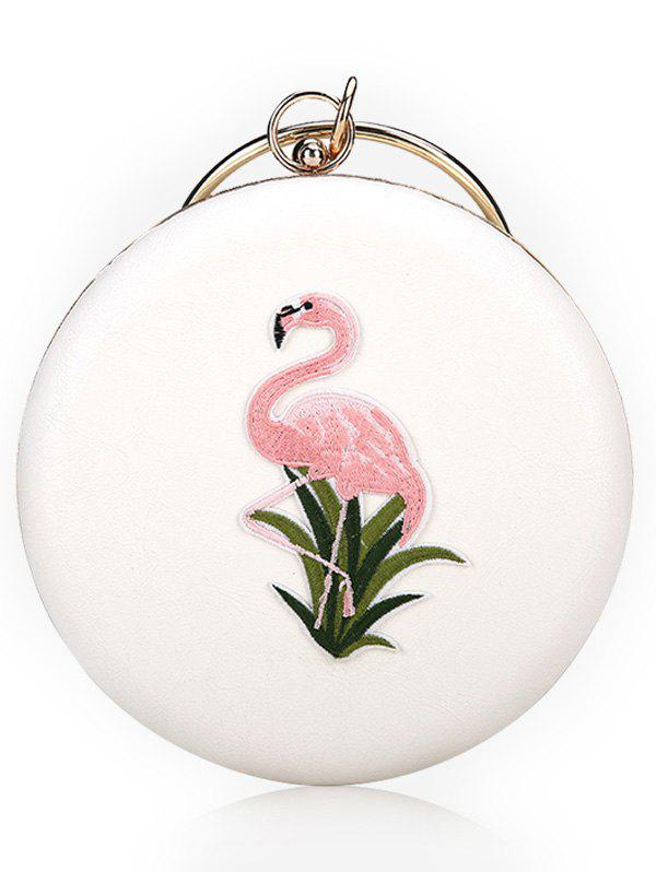 Flamingo Embroidery Round Shaped Handbag - WHITE